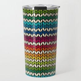 Rainbow knitted stripes Travel Mug