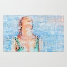 Relax abstract woman oil on canvas Rug