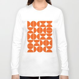 Mid Century Modern Geometric 04 Orange Long Sleeve T-shirt