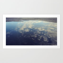 Sky Reflection in Puddle on Seattle Pier  Art Print