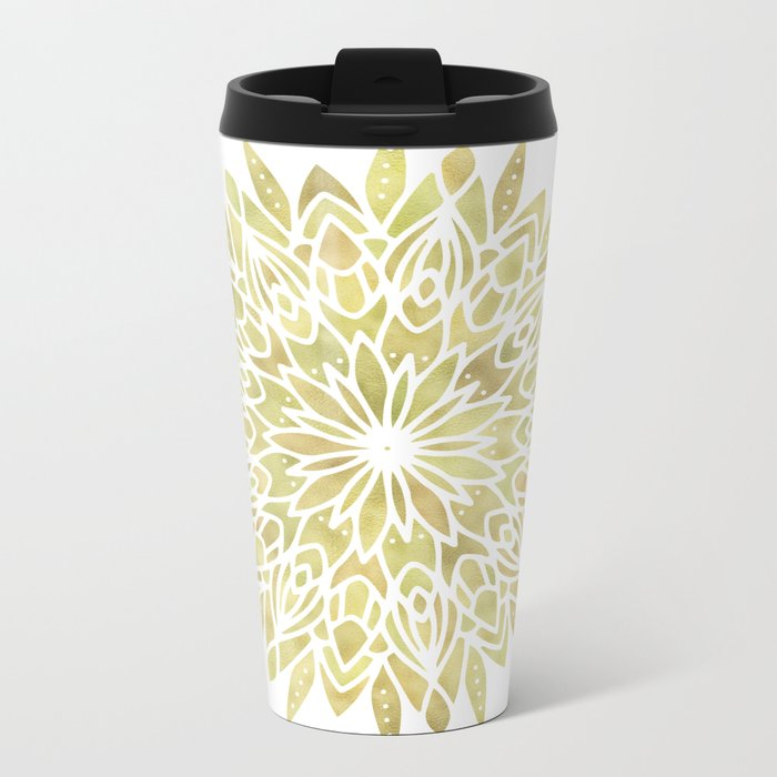 Mandala Yellow Sunflower Metal Travel Mug