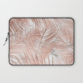 Tropical modern faux rose gold palm tree leaf white marble pattern Laptop Sleeve