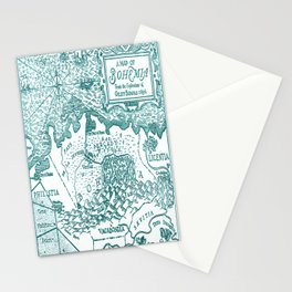 Map of Bohemia (blue) Stationery Cards