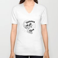 pixies V-neck T-shirts featuring B&W Broken Face by Melissa Nilsson