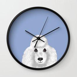Toy Poodle white poodle pet portrait custom dog art dog breeds by pet friendly Wall Clock