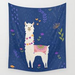 Llama on Blue Wall Tapestry