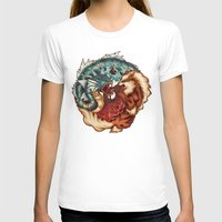 buddhism T-shirts featuring The Tiger and the Dragon by Megan Lara