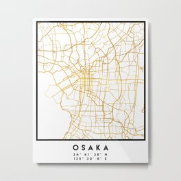 OSAKA JAPAN CITY STREET MAP ART Metal Print