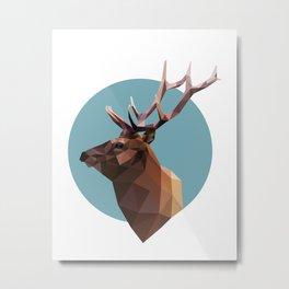 Geometric Deer Head Metal Print