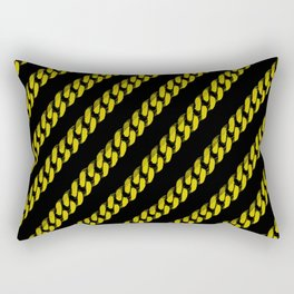 Yellow Line Chain on Black Rectangular Pillow