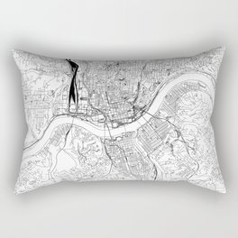 Cincinnati White Map Rectangular Pillow