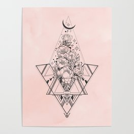 Roses in Moonlight Pink Poster