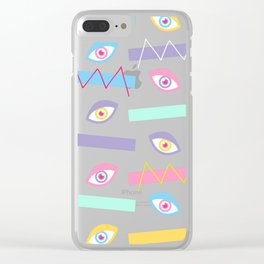 Black Teichopsia Eyes Clear iPhone Case