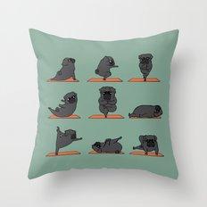 Black Pug Yoga Throw Pillow