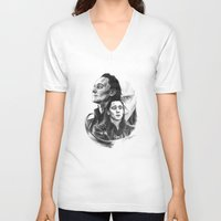 loki V-neck T-shirts featuring Loki  by Cécile Pellerin