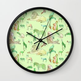 Watercolor Zoo Wall Clock