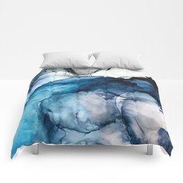 White Sand Blue Sea - Alcohol Ink Painting Comforters