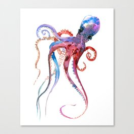 Octopus, blue red purple octopus art, octopus design Canvas Print