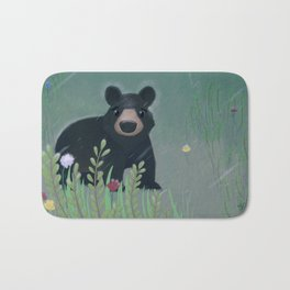 Black Bear Caught in the Rain Bath Mat