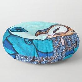 Barn Owl Art Nouveau Panel in blue Floor Pillow