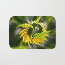 The sunflower from behind Bath Mat