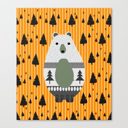 Cute bear, stripes and a fir forest Canvas Print