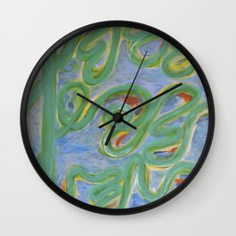Vividly Curved Green Lines Wall Clock