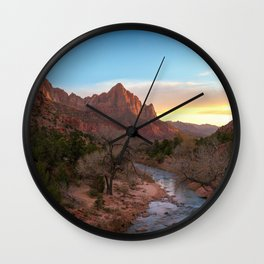 THE WATCHMAN ZION SUNSET NATIONAL PARK UTAH PHOTOGRAPHY Wall Clock