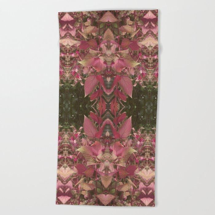 Red Shiso Warm Tones Pattern Beach Towel