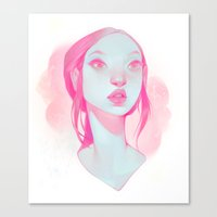 loish Canvas Prints featuring visage - pink by loish