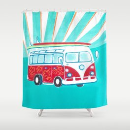 Surfer Sunrise Shower Curtain