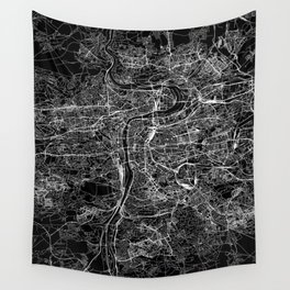 Prague Black Map Wall Tapestry