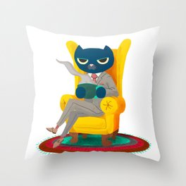 Welcome. Meow. Throw Pillow