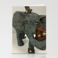 steam punk Stationery Cards featuring Steam Punk Elephant by Lily Dee Designs