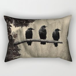 Three Like Minded Crows Rectangular Pillow