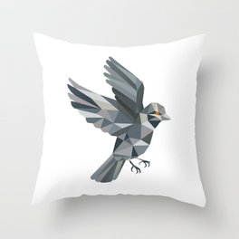 Old World Sparrow Low Polygon Throw Pillow