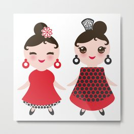 Spanish Woman flamenco dancer. Kawaii cute face with pink cheeks and winking eyes. Gipsy girl Metal Print