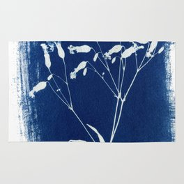 Herbal Sunprint, Wildflower Print, Botanical Cyanotype Rug