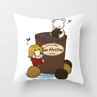 hetalia Throw Pillows featuring Hetalia - Canada Loves Timmies  by BlacksSideshow