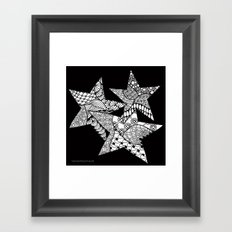 Midnight Zentangle Stars Black and White Illustration Framed Art Print