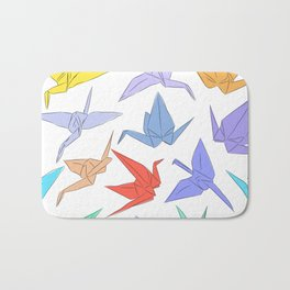 Japanese Origami paper cranes symbol of happiness, luck and longevity Bath Mat