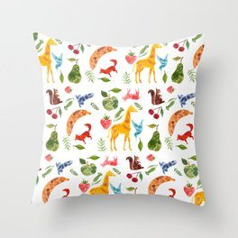 Animals and Fruit Repeat Throw Pillow