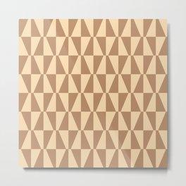 Mid Century Modern Geometric 312 Beige on Beige Metal Print