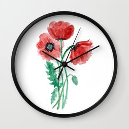 Red poppies painted with watercolor Wall Clock