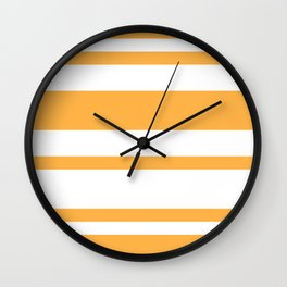 Mixed Horizontal Stripes - White and Pastel Orange Wall Clock