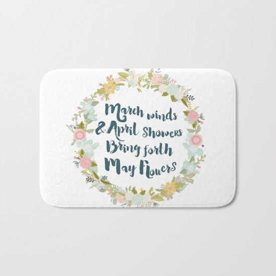 May Flowers brush script Bath Mat