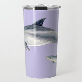 Bottlenose dolphin purple background Travel Mug
