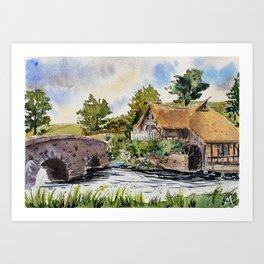 New Zealand, movie set   Watercolor Art Print