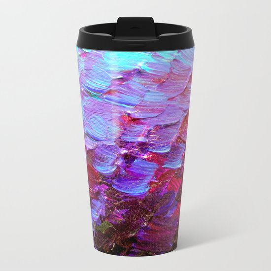 MERMAID SCALES - Colorful Ombre Abstract Acrylic Impasto Painting Violet Purple Plum Ocean Waves Art Metal Travel Mug