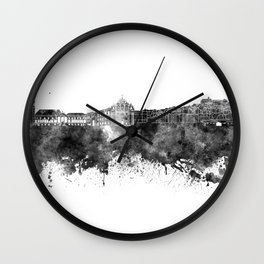 Coimbra skyline in black watercolor on white background Wall Clock